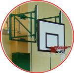 Sistem de montaj pliabil pentru panoul de baschet,  cu dispozitiv de ajustare a inaltimii